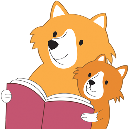 Cartoon mother & child foxes reading a book
